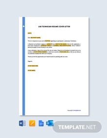Free Lab Technician Resume Cover Letter Template