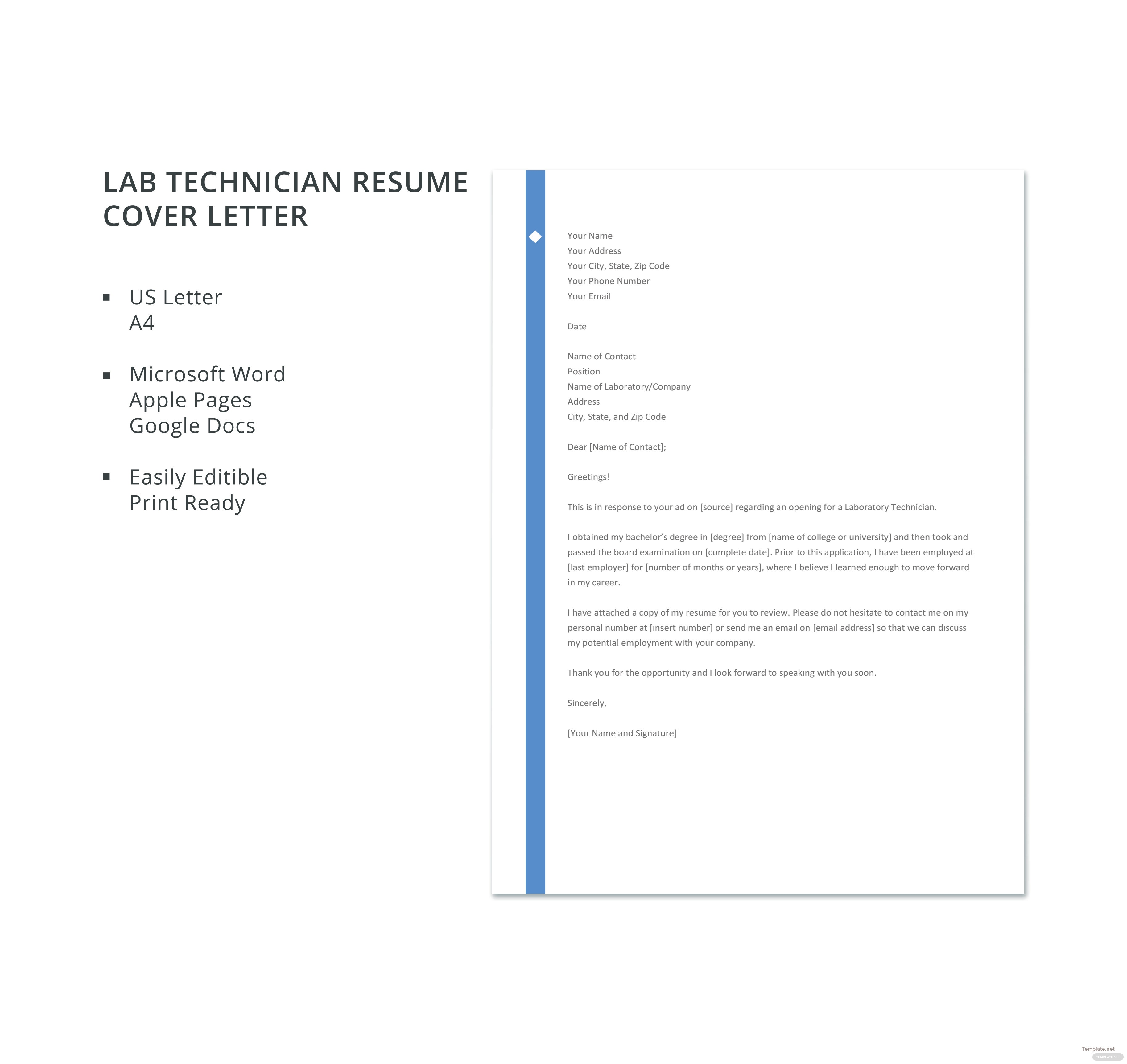 free lab technician resume cover letter template in microsoft word  apple pages  google docs