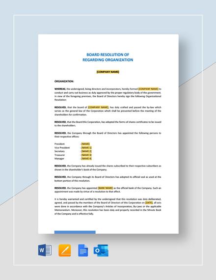 Board Resolution Regarding Organization Template