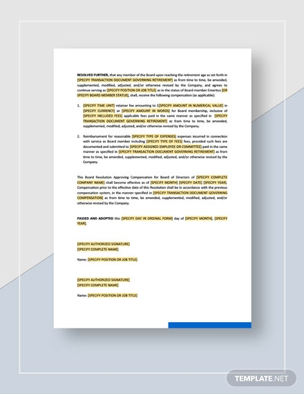 Board Resolution Approving Compensation for Board of Directors Download
