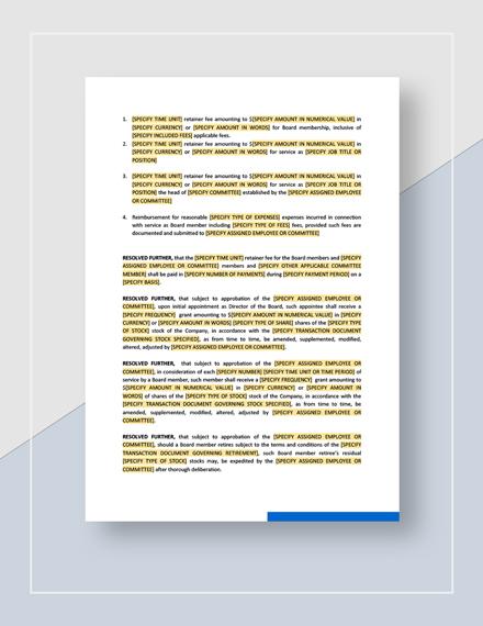 Board Resolution Approving CompensationforBoardofDirectorsTemplate