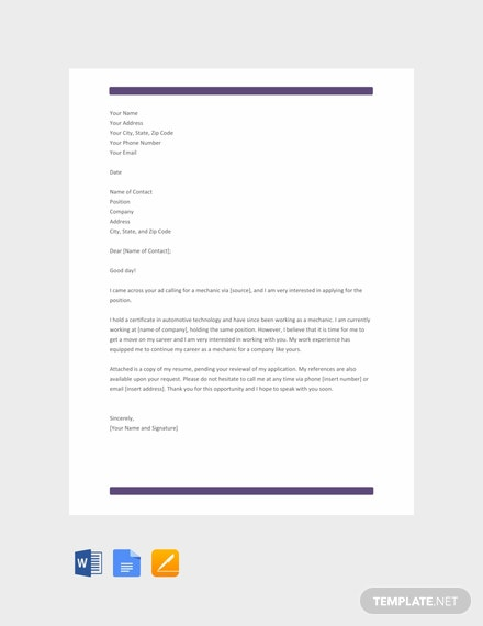 Free Mechanic Resume Cover Letter Template