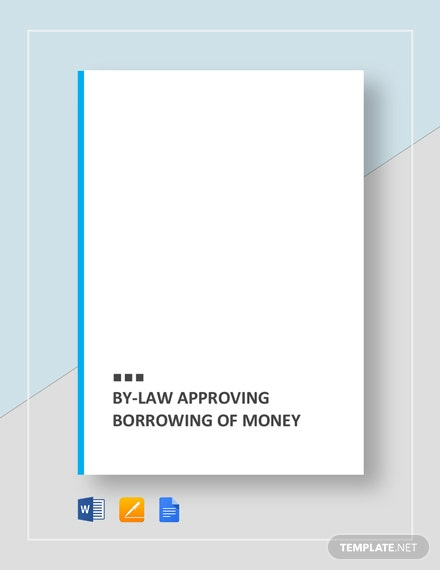 By-Law Approving Borrowing of Money Template