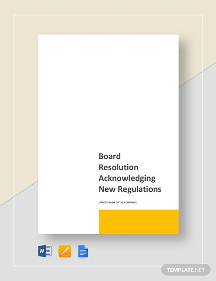 Board Resolution Acknowledging New Regulations Template