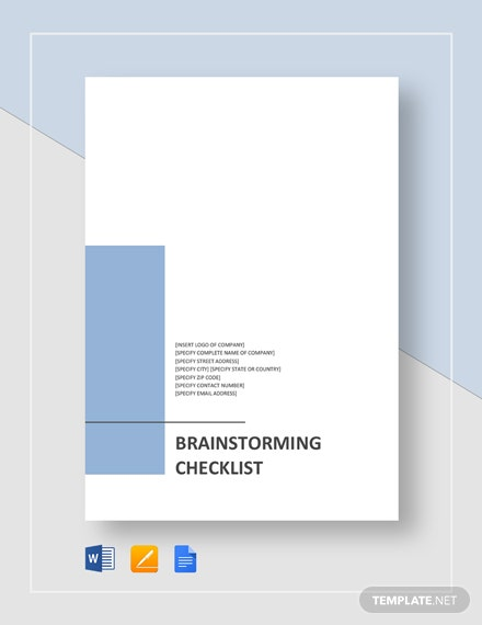 Brainstorming Checklist Template