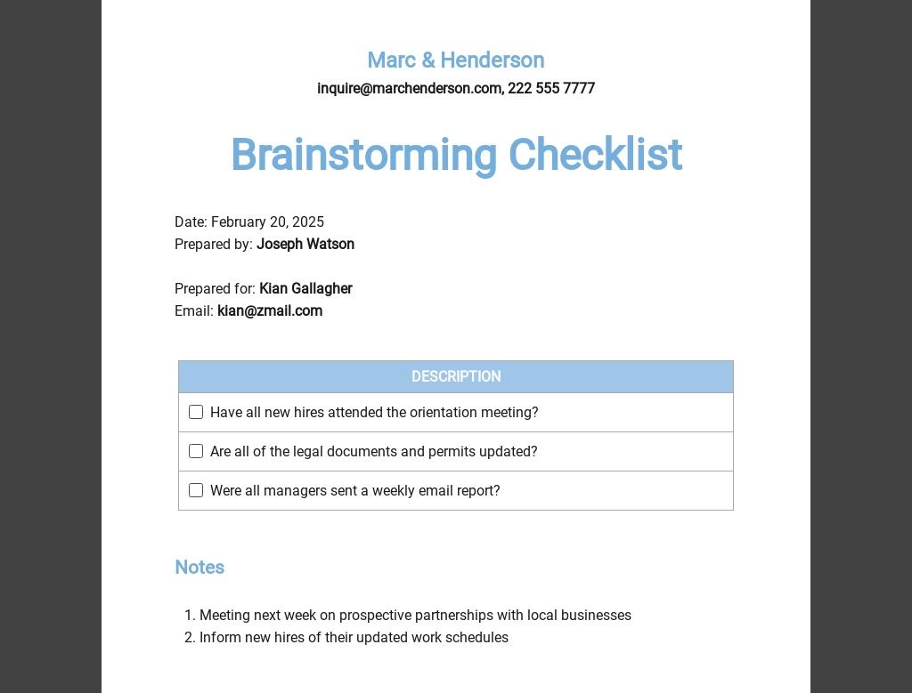 Brainstorming Checklist Template