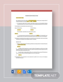 Shareholders Resolution Template