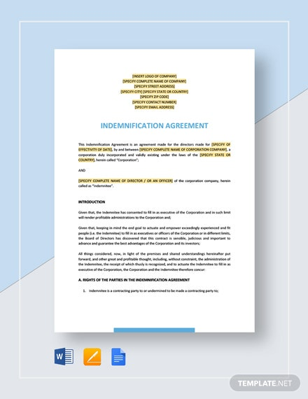 Indemnification Agreement For Directors Template