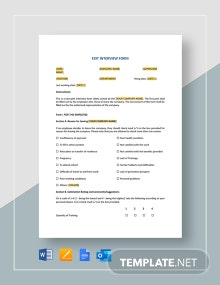 Exit Interview Form Template