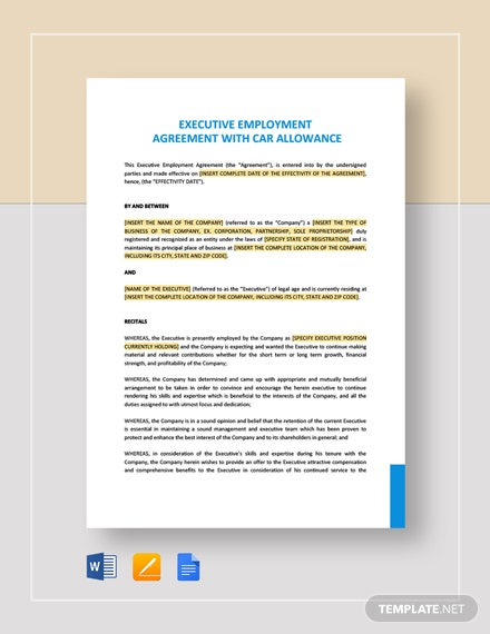 Executive Employment Agreement with Car Allowance Template
