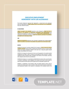 Executive Employment Agreement with Car Allowance Template