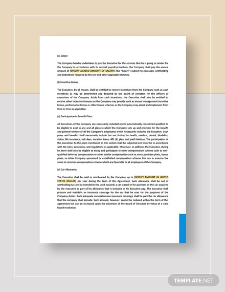 Executive Employment Agreement with Car Allowance Download