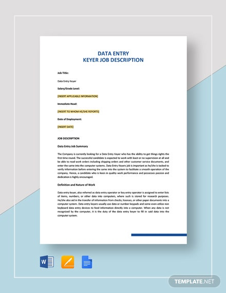 Data Entry Keyer Job Description Template