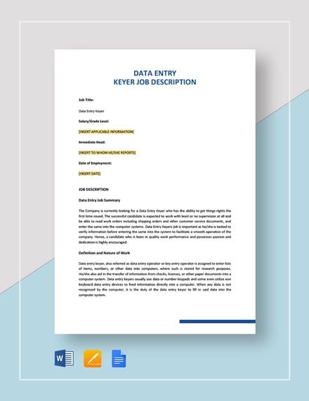Data Entry Keyer Job Description Template