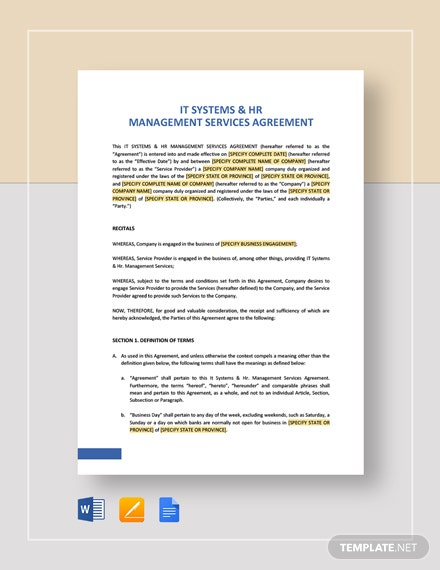 IT Systems & HR Management Services Agreement Template