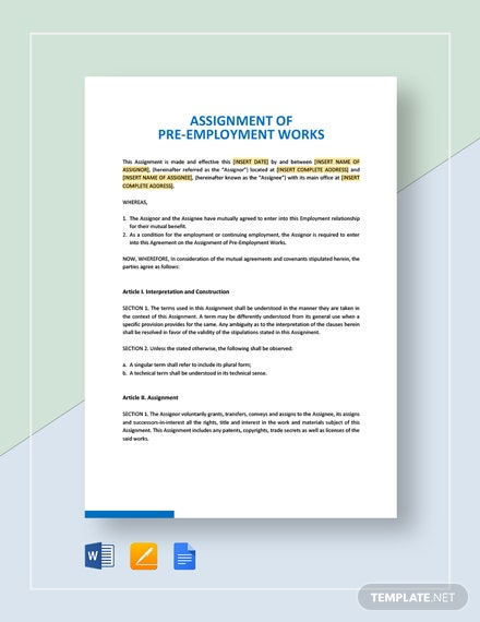 Assignment of Pre-Employment Works Template