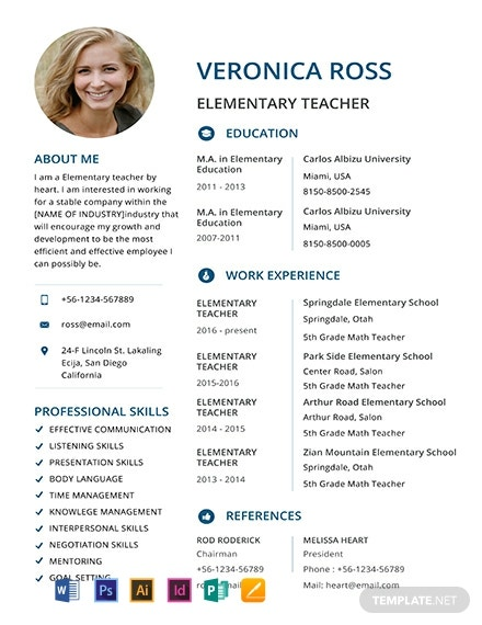 Elementary Teacher Resume Template [Free PSD] - Illustrator, InDesign, Word, Apple Pages, Publisher