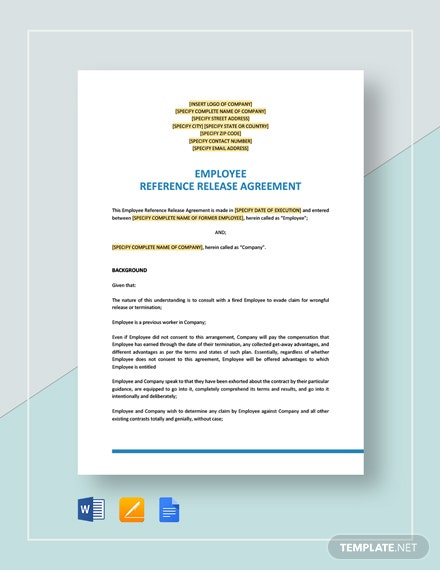 Employee Reference Release Agreement Template