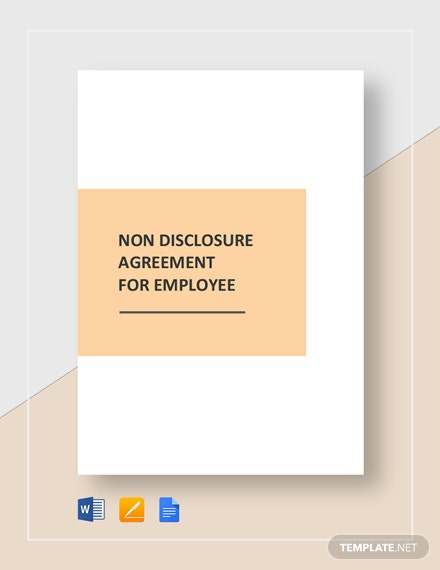 Non Disclosure Agreement for Employee Template