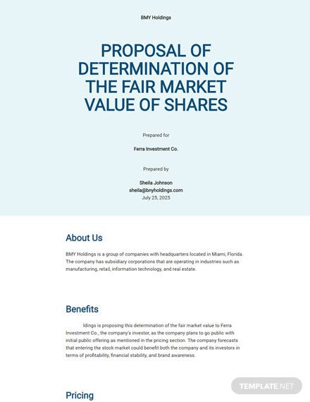 Proposal of Determination of the Fair Market Value of Share Template
