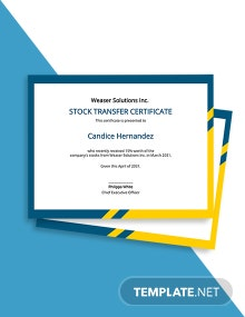 Assignment and Transfer of Stock Certificate Template