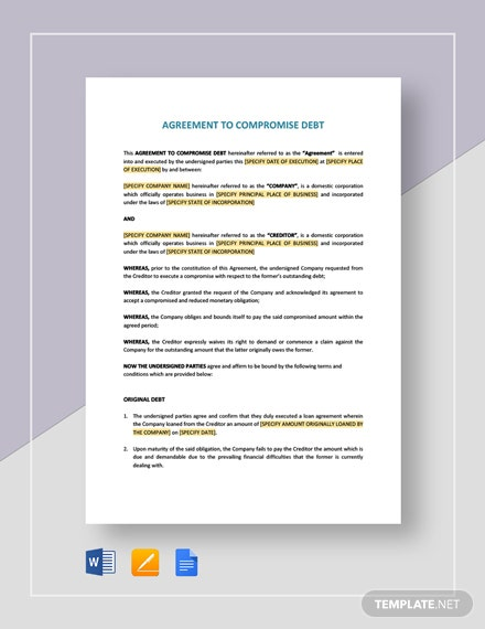 Agreement to Compromise Debt Template