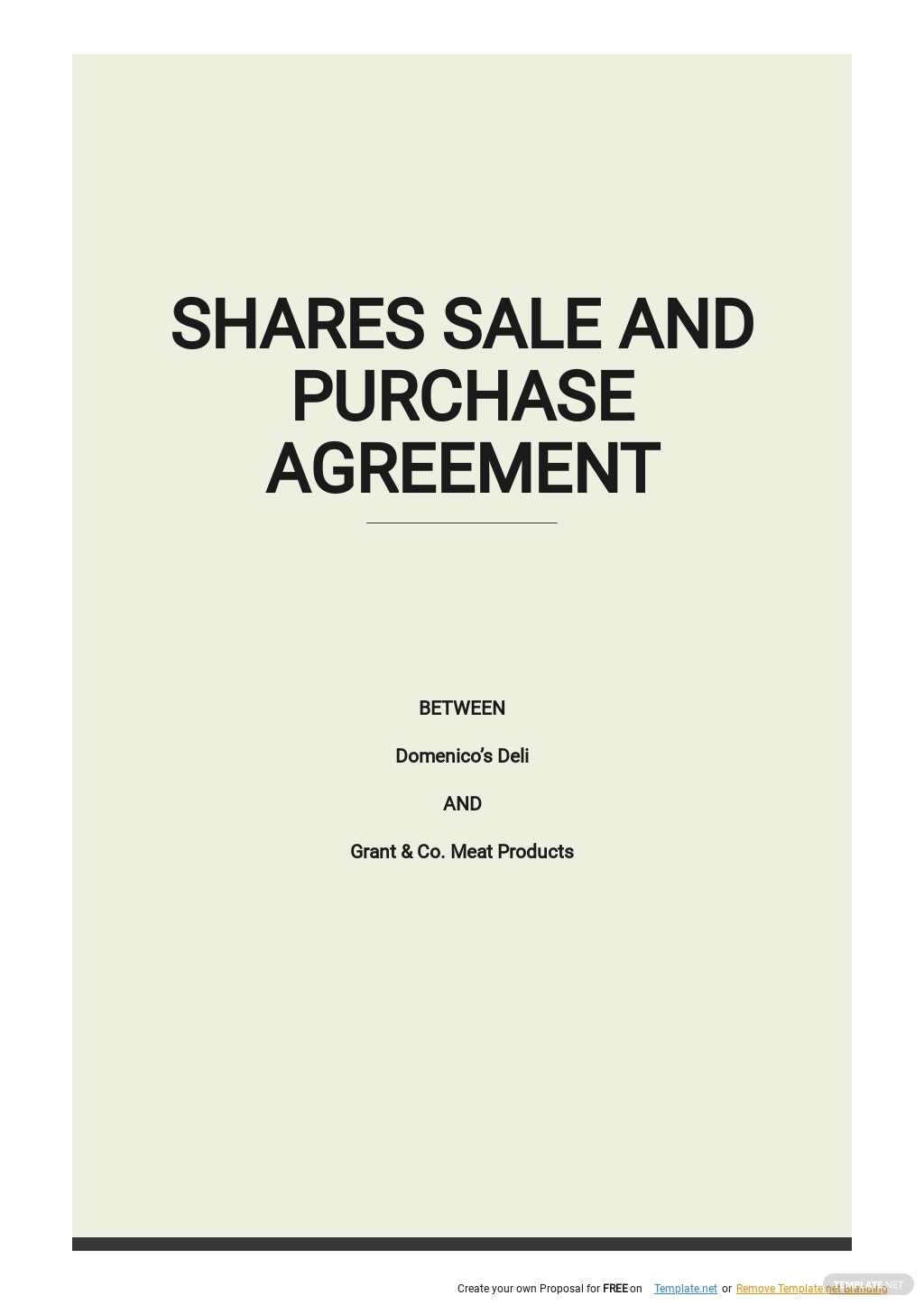 Purchase and Sale of Shares Agreement Template