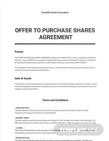 Offer to Purchase Shares Agreement Template