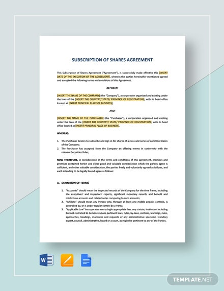 Subscription of Shares Agreement Template