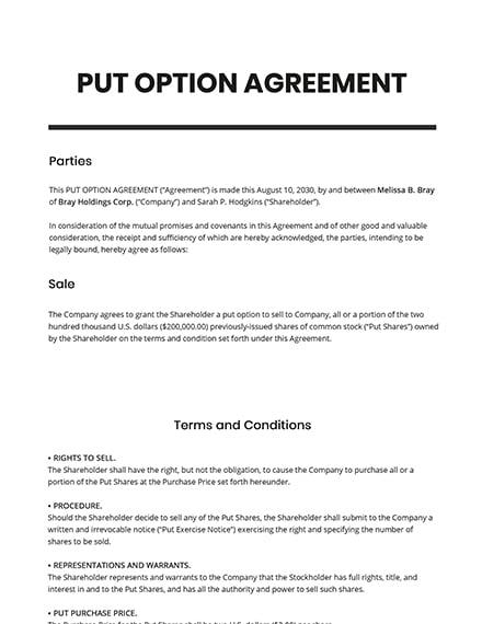 Put Option Agreement Template