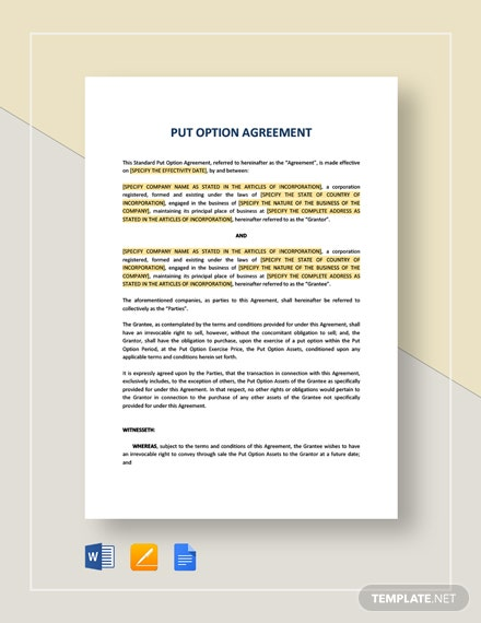 Put Option Agreement Template