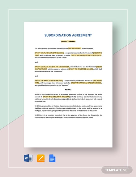 Private Companies Subordination Agreement Template