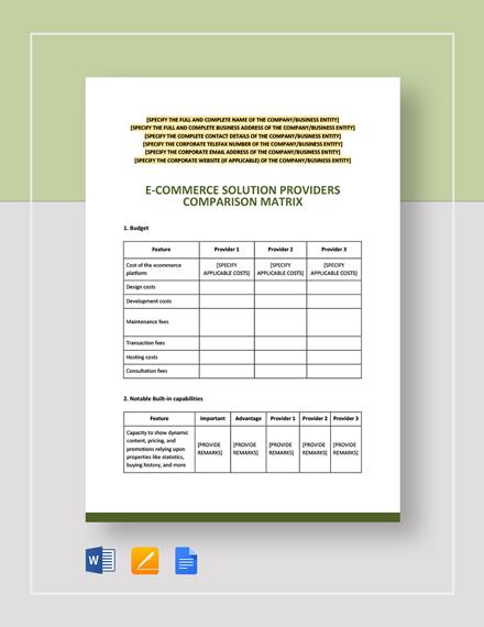 E-Commerce Solution Providers Comparison Matrix Template