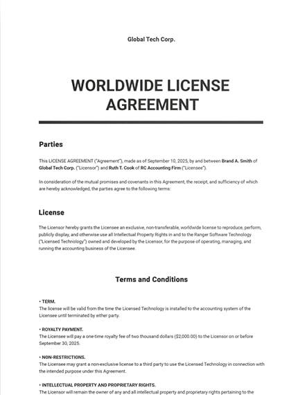 Worldwide License Agreement Sample