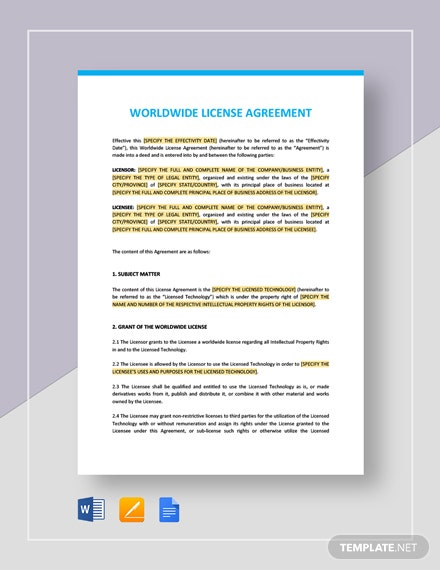 Worldwide License Agreement Template