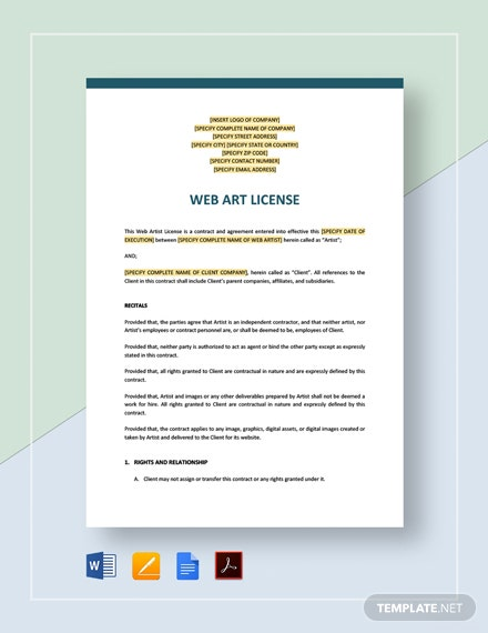 Website Art License Template