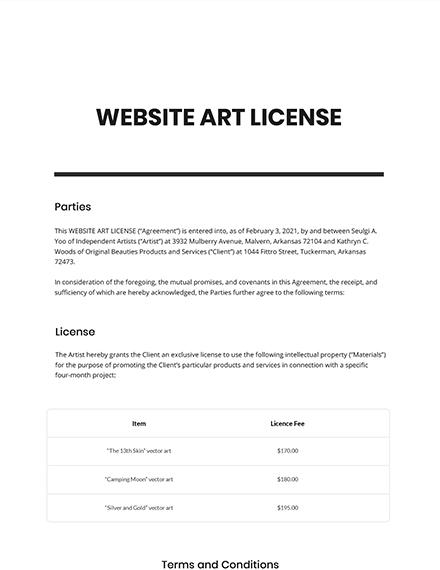 Website Art License Template