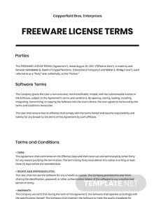 Freeware License Terms Template