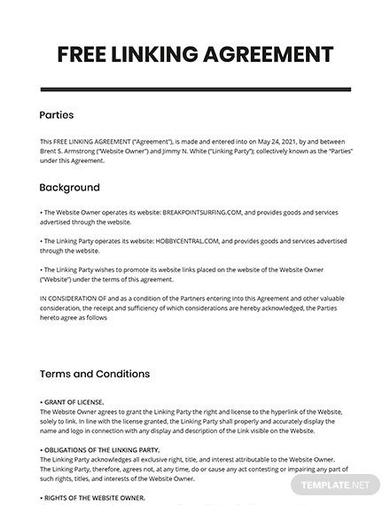 Linking Agreement Template