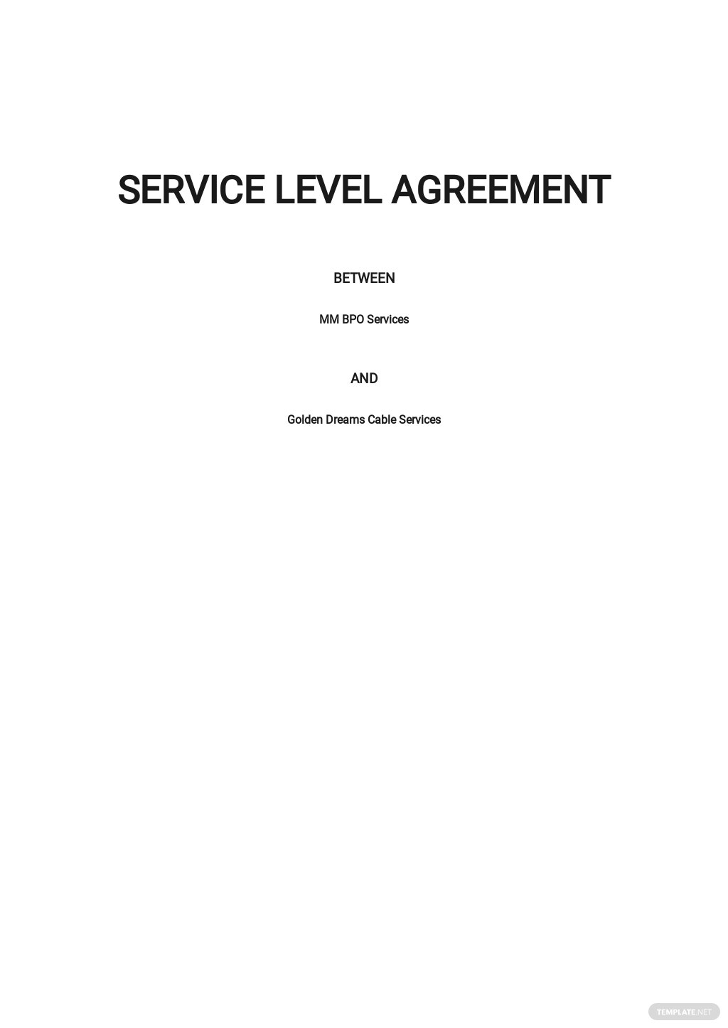Simple Service Level Agreement Template.jpe