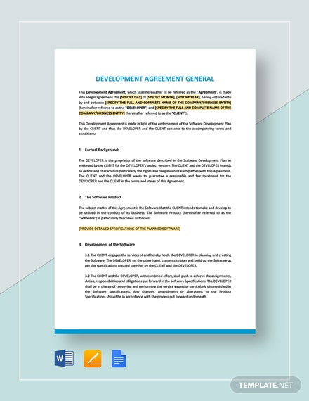 Development Agreement General Template