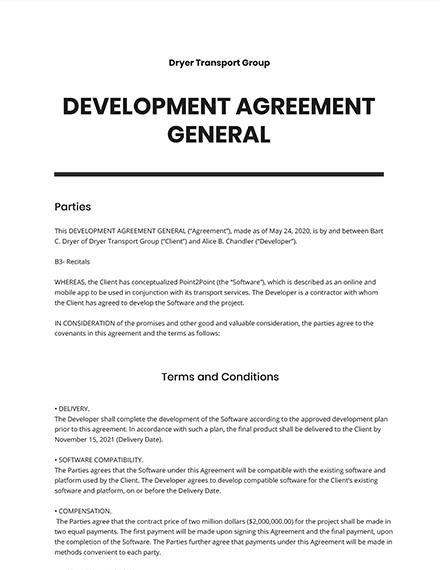 Development Agreement General Template