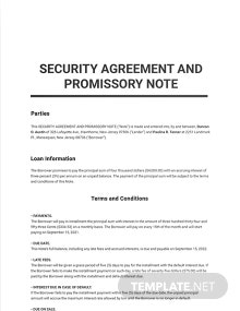Security Agreement and Promissory Note Template