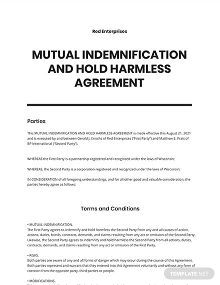 Mutual Indemnification and Hold Harmless Agreement