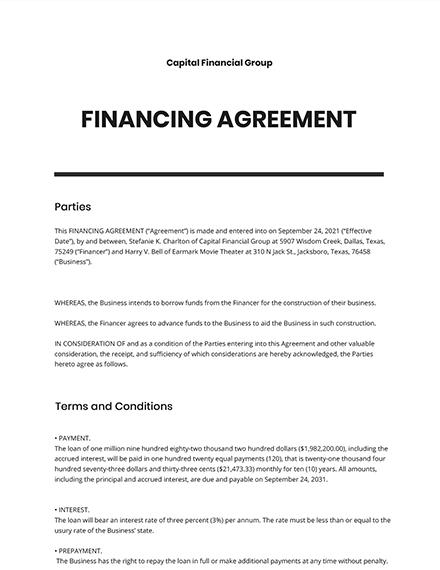 Financing Agreement Template