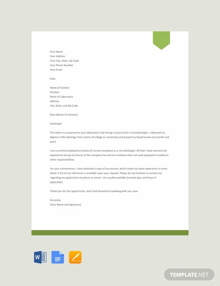 FREE Microbiologist Resume Cover Letter Template - Word ...