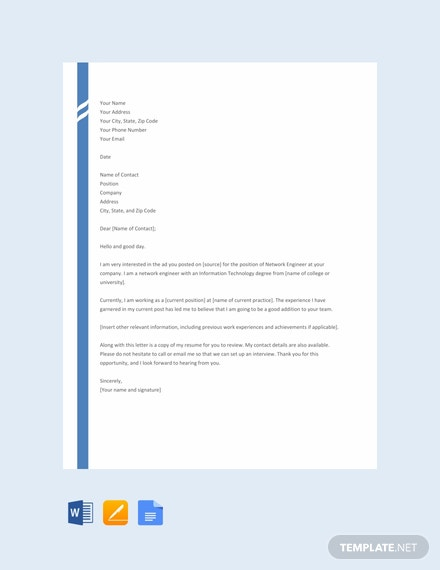 Free Network Engineer Resume Cover Letter Template