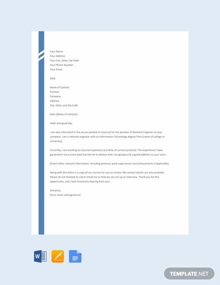 Free Network Engineer Resume Cover Letter Word Google