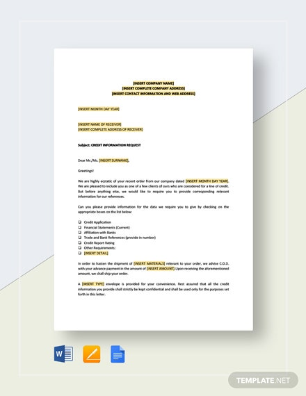 Credit Information Request Template