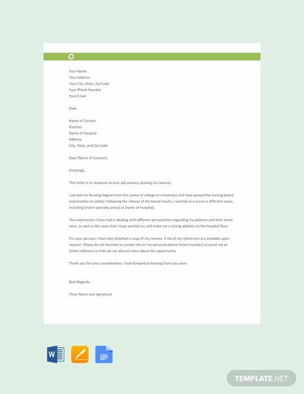 free nursing resume cover letter template